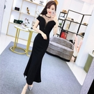 夏季新款韓版氣質網紗拼接漏肩修身顯瘦包臀洋裝開叉長裙女
