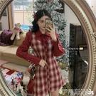 大碼洋裝 大碼女裝秋冬新款復古紅色假兩件包臀裙拼接胖mm新年格子連身裙潮 伊蒂斯
