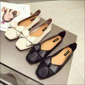 六月芬蘭方頭素面素色立體蝴蝶結娃娃鞋芭蕾舞鞋平底鞋女鞋奶奶鞋黑色米色(35-41大尺碼)現貨