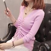 針織衫-V領簡約純色抽繩修身女毛衣6色73tp7[巴黎精品]