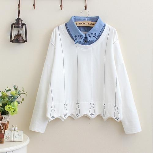*ORead*日系刺繡襯衫領拼接波浪邊衛衣(白色F碼)