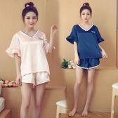 中大尺碼 睡衣短袖兩件套韓版冰絲性感夏季薄款絲綢家居服套裝LJ9865『夢幻家居』