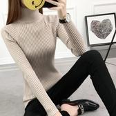 針織上衣 2019秋冬新款女高領毛衣打底衫長袖套頭加厚修身白色緊身針織冬【快速出貨】