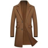毛呢大衣-純色西裝領商務修身長版男風衣4色73wk35【巴黎精品】