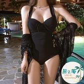 泳衣女蕾絲連身游泳衣女連體性感小胸聚攏遮肚顯瘦保守泡溫泉 風之海