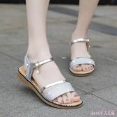 金色涼鞋女平底鞋仙女風低跟一字帶平跟厚底夏季2020新款度假鞋 LF3898【Rose中大尺碼】