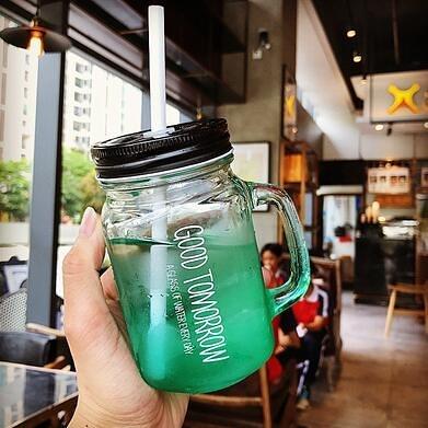 梅森杯 手柄漸變英文吸管公雞梅森杯男女學生咖啡廳果汁飲料玻璃杯子【快速出貨八折優惠】