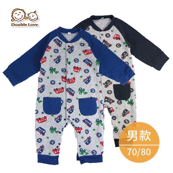 冬季長袖寶寶服【GD0112】日本汽車加厚刷毛保暖寶寶連身衣 新生兒服(70/80) 兔裝 紗布衣 包屁衣