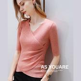 羊毛針織內搭衫中袖羊毛收腰上衣(五色S-3XL可選)/設計家 AL510108