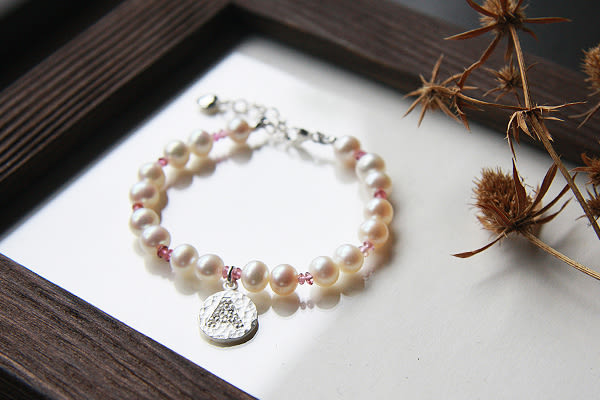 天然珍珠+粉紅碧璽+英文字母925銀兒童手鍊,DeeDee Jewellery 6月誕生石、生日石,生日禮物