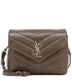 YSL SAINT LAURENT Toy Loulou 銀釦金屬Y字小牛皮V縫線設計 肩背/斜背二用包 深駝色