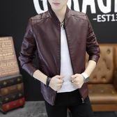 新款春季男士皮夾克韓版修身機車外套男裝潮流青年帥氣PU皮衣   易家樂