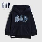 Gap男幼童 Logo剪毛絨舒適拉鍊連帽外套 592928-海軍藍