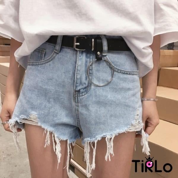 牛仔短褲 -Tirlo-淺藍色不規則鬚邊牛仔短褲-一色/S-XL(現+追加預計5-7工作天出貨)