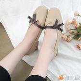豆豆鞋 豆豆鞋女新款百搭夏款秋季單鞋淺口粗跟復古平底中跟奶奶女鞋 雅楓居