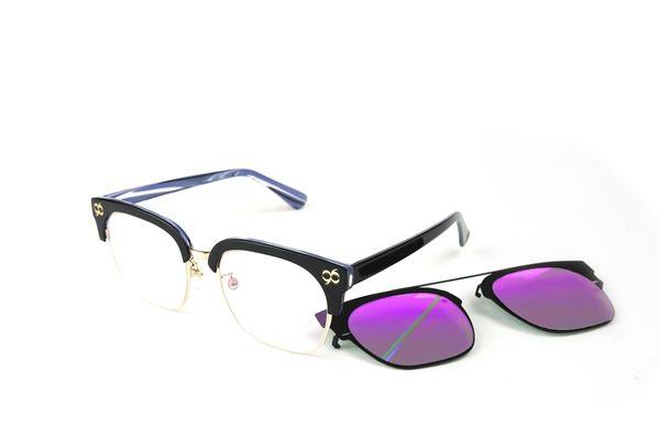 YuYu-ChangChiaYu 時尚太陽眼鏡 BEING 平光系列+ 前掛式太陽眼鏡- 紫色(礦紫迷幻)