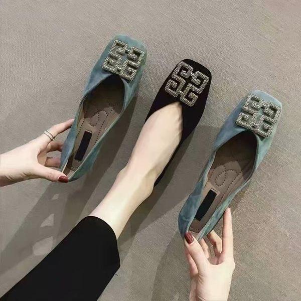 豆豆鞋 單鞋女春款ins小跟淺口豆豆鞋帶鉆扣方頭奶奶鞋瓢鞋 麻吉好貨