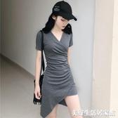 修身顯瘦不規則包臀裙子氣質純色V領短袖連身裙女裝 美好生活