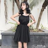 夏裝女裝韓版中長款高腰顯瘦吊帶裙一字領露肩無袖洋裝小黑裙潮 提拉米蘇