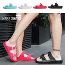[Here Shoes] 情侶款/男女款 1.5cm拖鞋 一字寬帶 素面基本款扣環 圓頭厚底涼拖鞋 海灘鞋-AN930