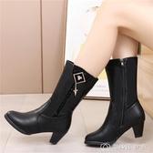 冬季加絨保暖中筒靴馬丁靴短靴中年媽媽靴中跟單靴女靴子 創時代3c館
