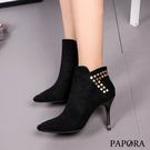 PAPORA鉚釘尖頭細高跟短靴KYK91黑
