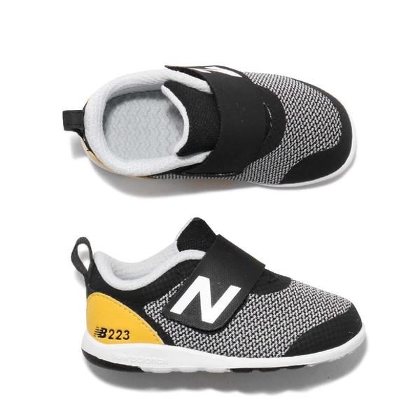 New Balance 慢跑鞋 223 魔鬼氈 黑 灰 小童鞋 童鞋 運動鞋【ACS】 IO223BKYW
