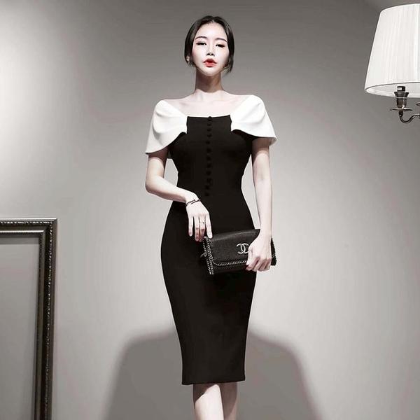 一字肩修身包臀性感連衣裙女夏收腰顯瘦名媛氣質平時可穿宴會禮服晴天時尚