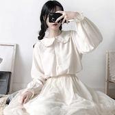 春夏日系軟妹花邊Lolita娃娃領襯衫女學生韓版寬鬆長袖打底上衣潮