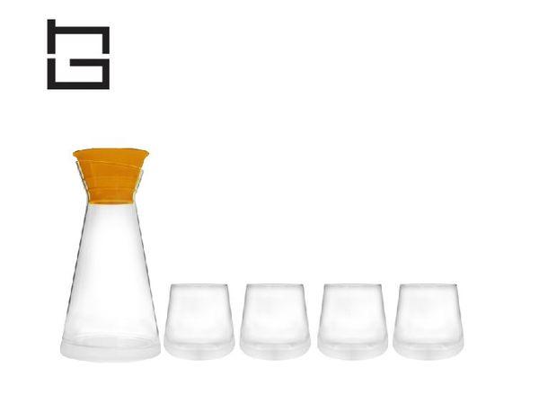 【HG】創意玻璃冷水壺杯具套裝(橙)/5件組 (現貨+預購)