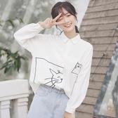 女士襯衫 2019新款春秋學院POLO衫寬鬆貓咪翻領白襯衫女長袖打底上衣【免運】