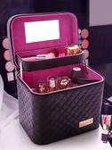 大容量韓國化妝包多功能小號方袋便攜手提多層化妝品收納盒簡約箱〖滿千折百〗