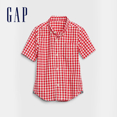 Gap 男幼童 時尚格紋角扣翻領短袖襯衫 577664-正紅