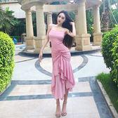 新款性感連衣裙2018夏裝高腰包臀褶皺露肩純色吊帶長裙雪紡仙女裙
