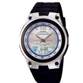 【CASIO】10年電力海洋型男膠帶雙顯錶-銀面(AW-82-7A)