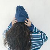 超顯白霧藍色坑條捲邊針織帽秋冬保暖毛線帽子    花間公主