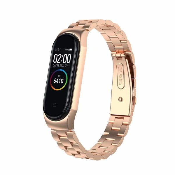 小米手環4 不銹鋼三珠錶帶 金屬不鏽鋼錶帶 鏈帶 替換錶帶 替換手環 錶鍊帶 更換錶帶 米4手環