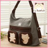 斜背包~Le Baobab日系貓咪包 啵啵貓兩用包/肩背包/手提包/側背包/拼布包包