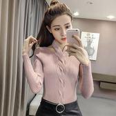 2018秋款正韓時尚V領掛脖包芯紗純色打底針織衫修身長袖套頭毛衣