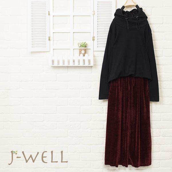 J-WELL 純色百搭長袖帽T條紋絨面寬褲二件組(組合663 8J1424黑+8J1299紅)