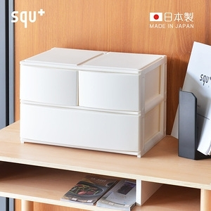 日本squ+ Posdeco日製39cm寬抽屜箱(2小高抽+1大高抽)白