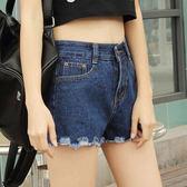 ☆ENTER☆牛仔短褲 高腰磨破毛邊深藍牛仔短褲【GO4561】