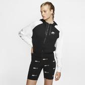 NIKE AIR 女裝 連帽外套 全拉練 拼接 基本 微刷毛 柔軟 黑白【運動世界】 BV4772-010