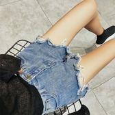 春潮破洞牛仔短褲女正韓百搭高腰寬鬆學生闊腿熱褲 【萬聖節推薦】