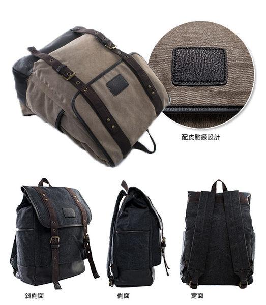 DF BAGSCHOOL - 韓版紳士拼接配皮街頭帆布後背包