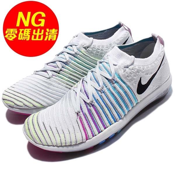【US5.5-NG出清】Nike 訓練鞋 Wmns Free Transform Flyknit 左腳鞋墊掉字 灰 黑 健身專用 女鞋【PUMP306】