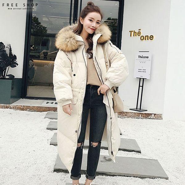 [現貨]韓國風格大毛領超美中長版連帽仿羽絨鋪棉保暖風衣外套大衣 大尺碼 長版外套【QZZZ11047】