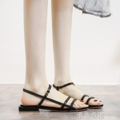 一字帶涼鞋女低跟3厘米小跟羅馬涼鞋女小香潮流女鞋 新款綠色 雙十一全館免運