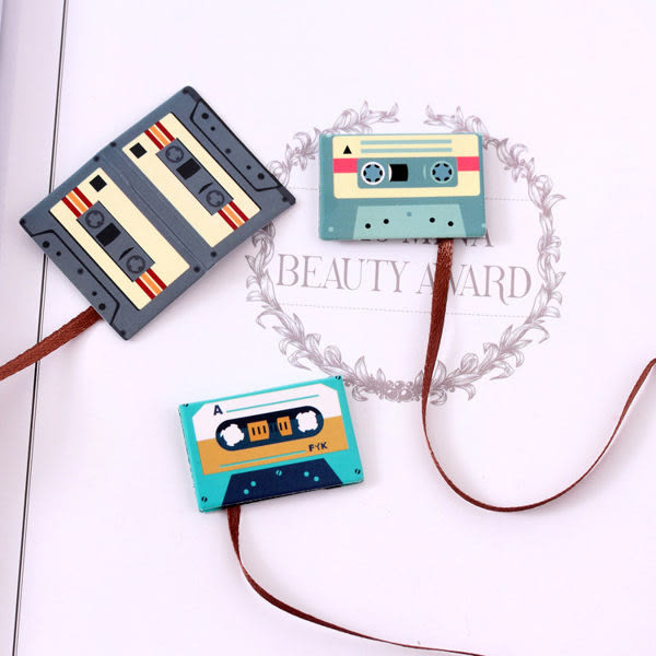 【03665】萌系磁鐵書籤 書夾 文具 可愛動物 錄音帶