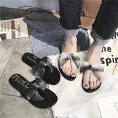 雙十二預熱 拖鞋女夏新款外穿一字時尚平底鞋子學生蝴蝶結羅馬甲 腳人字拖